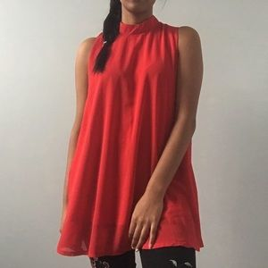 Tops - 2/$25   Red mock-neck blouse